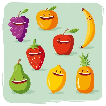 pineapples: frutas Funny Vectores
