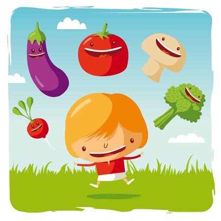 dieta saludable: niña con verduras divertidos