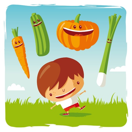 summer vegetable: boy with funny vegetables