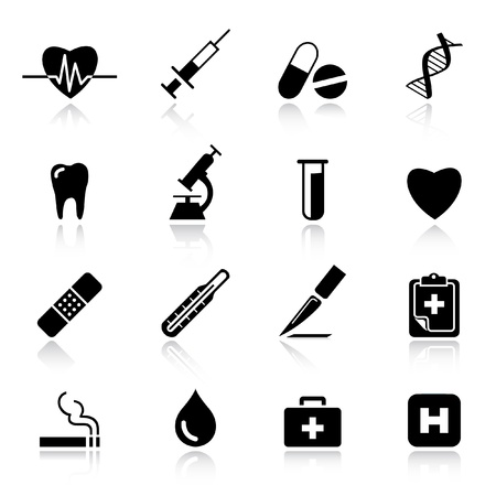 injectie: Basic - medische pictogrammen Stock Illustratie