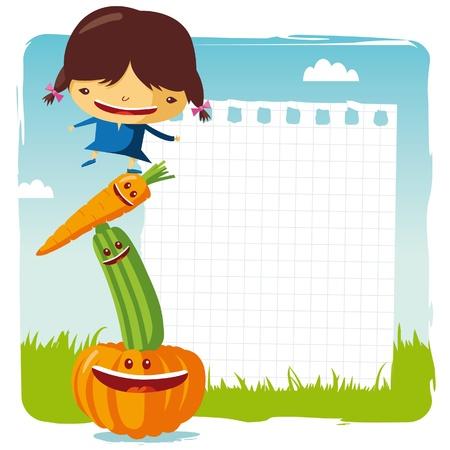 alimentacion sana: chica con verduras divertidos Vectores