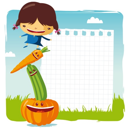 żywności: Dziewczyna z warzyw Zabawna Ilustracja