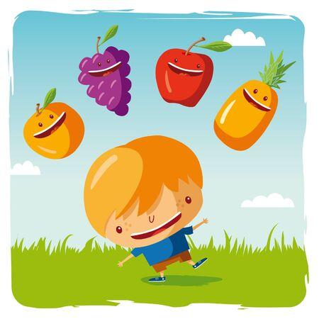 niño con frutas funny