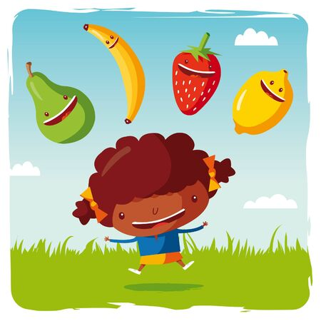 cartoon strawberry: girl with funny fruits