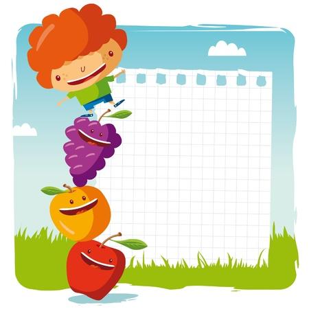 frutas divertidas: ni�o con frutas funny Vectores