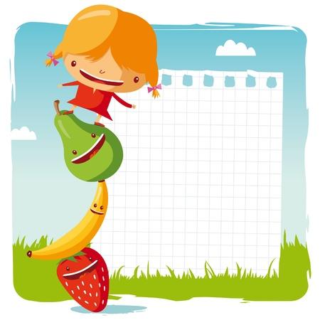 aliments droles: jeune fille avec fruits drôles