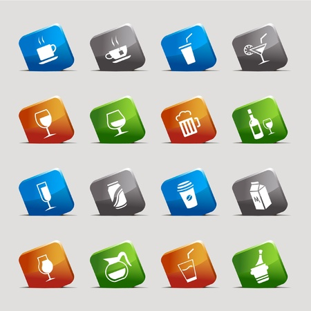 Cut Squares - Drink Icons Vector