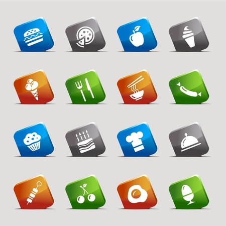 Cut Squares - Food Icons Stock Vector - 9934689