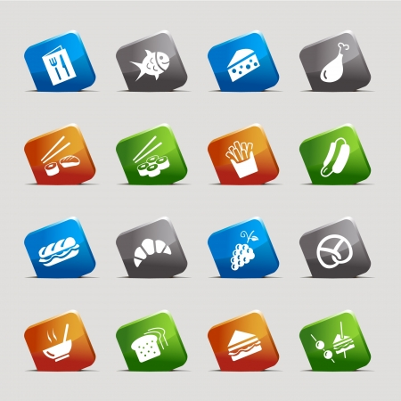 Cut Squares - Food Icons Vector