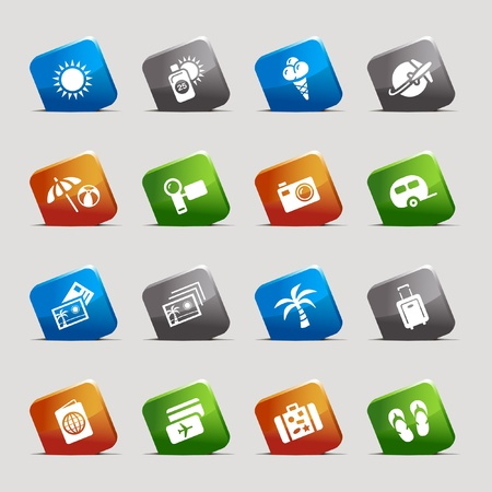Cut Squares - Vacation icons Vector
