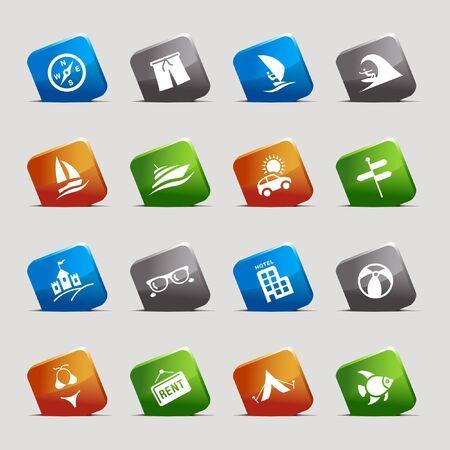 canotaje: Cortar cuadrados: iconos de vacaciones