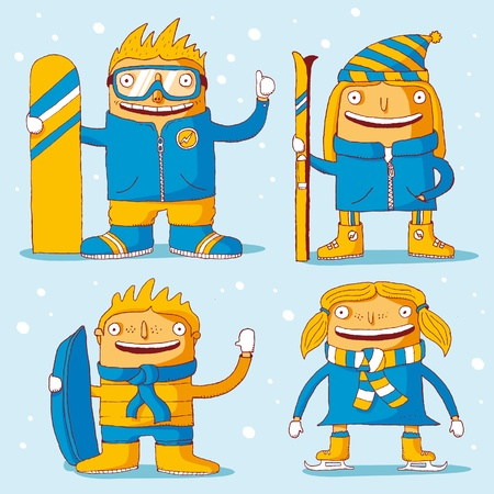 luge: Famiglia sport invernali Vettoriali