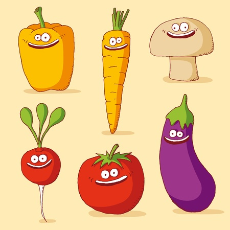 Funny vegetables Stock Vector - 9934729