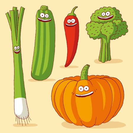 Funny vegetables Vector