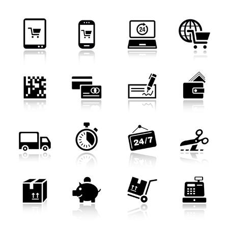 caja registradora: Basic - iconos de compras Vectores