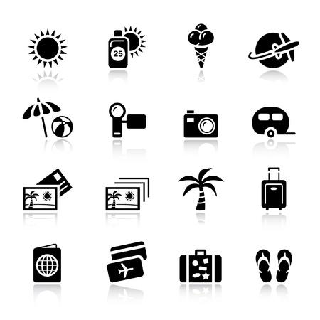 boarding card: Basic - icone di vacanza Vettoriali