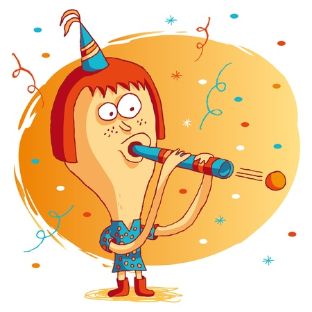 redhead woman: Happy birthday - party favors Illustration