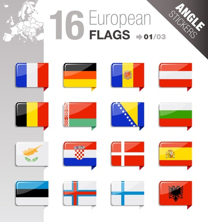 european community: Angle Stickers - European Flags