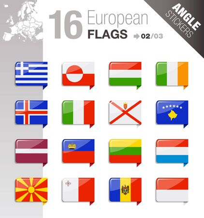 guernsey: Angle Stickers - European Flags
