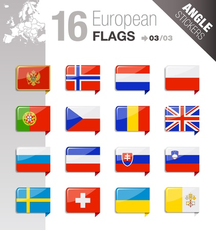 Angle Stickers - European Flags Stock Vector - 10443974