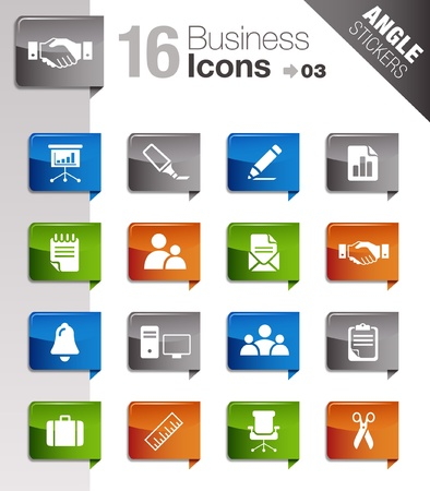 Angle Stickers - Office and Business icons Vector