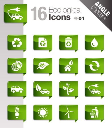 Angle Stickers - Ecological Icons Stock Vector - 10443964