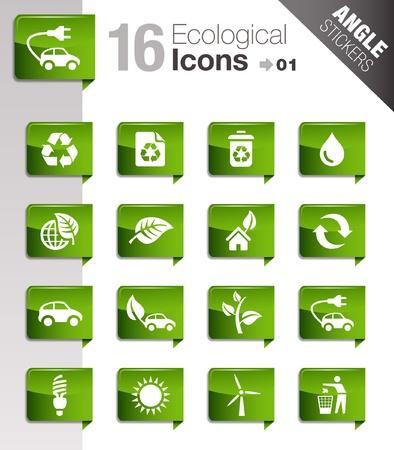 Ángulo pegatinas - iconos ecológicos