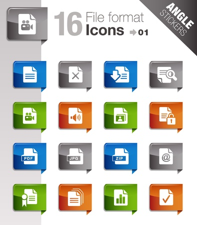 pdf: Angle Stickers - File format icons Illustration