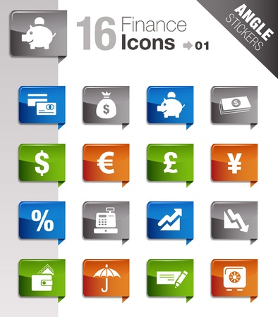 Angle Stickers - Finance icons Illustration