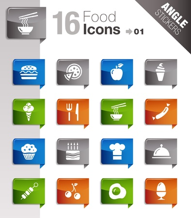 noodle bowl: Angle Stickers - Food Icons  Illustration