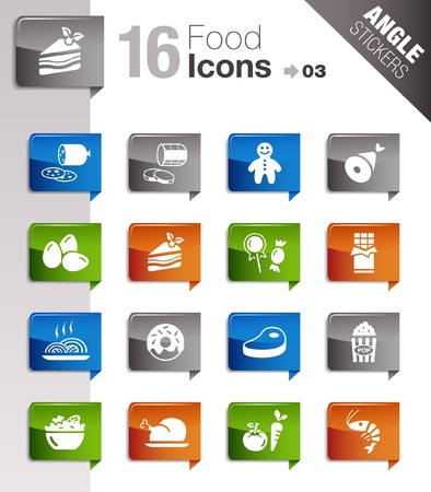 Angle Stickers - Food Icons  Vector