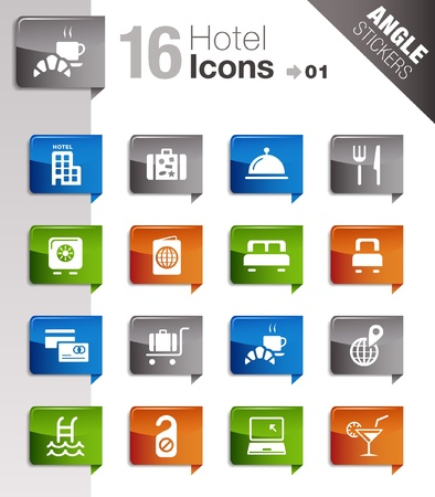 hotel bedroom: Angle Stickers - Hotel icons Illustration