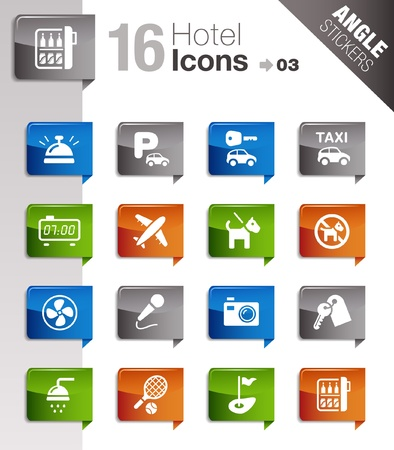 reception hotel: Angle Stickers - Hotel icons Illustration