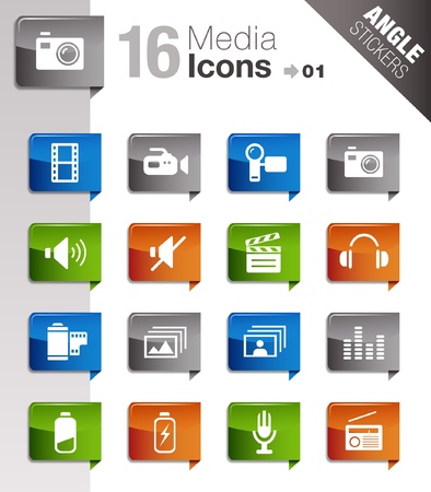 button batteries: Angle Stickers - Media Icons