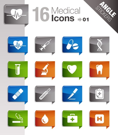 Angle Stickers - medical icons Vector