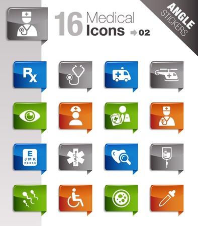 iconos medicos: Pegatinas �ngulo - Los iconos de m�dicos