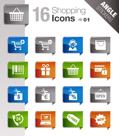 e shop: Angle Stickers - Shopping icons Illustration