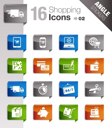 bank cart: Angle Stickers - Shopping icons Illustration