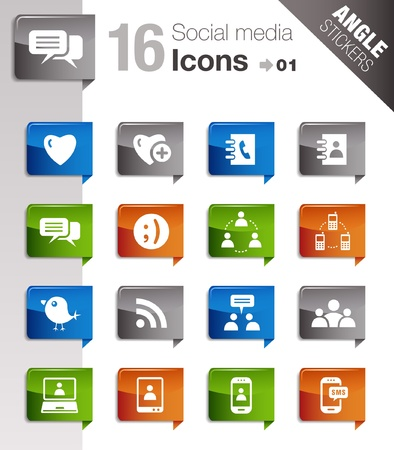 Angle Stickers - Social media icons Vector