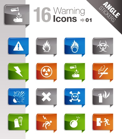 Angle Stickers - warning icons Vector