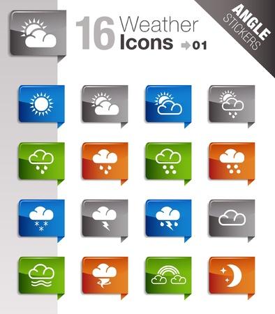 iconos del clima: Pegatinas �ngulo - Iconos del tiempo Vectores