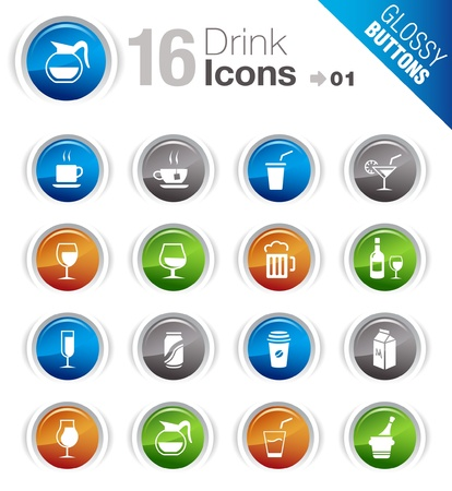 Glossy Buttons - Drink Icons Vector
