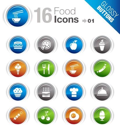 bandeja de comida: Botones brillante - iconos de alimentos Vectores