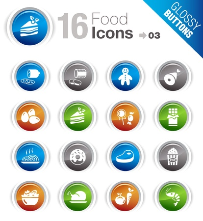 Glossy Buttons - Food Icons  Vector