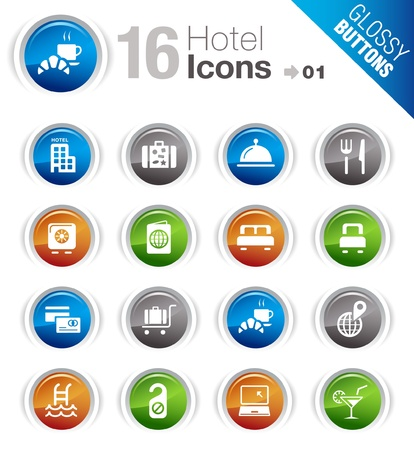 travel icons: Glossy Buttons - Hotel icons
