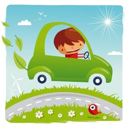 niños reciclando: coche verde