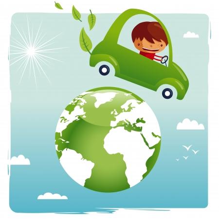 eco car: coche verde - salvar nuestro planeta Vectores