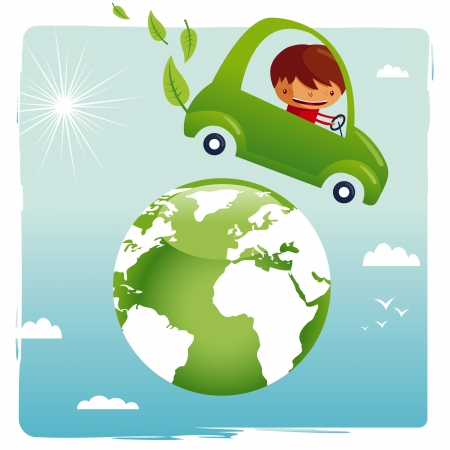 green car - save our planet Vector