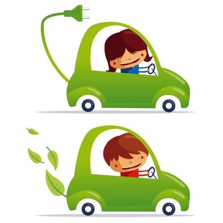 eco car: verde de veh�culos el�ctricos y coches verdes Vectores