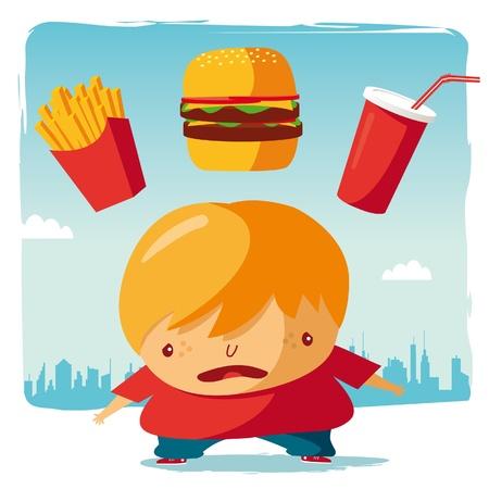obeso: Obese  fast food Ilustração
